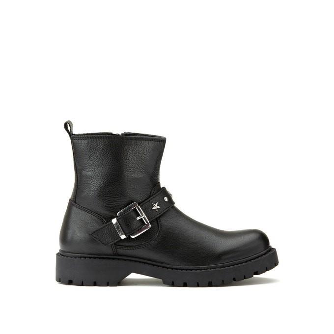 Boots en cuir noir signée La Redoute Collections